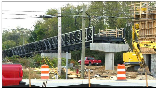 WSLS News covered progress on the bridge over Route 114.