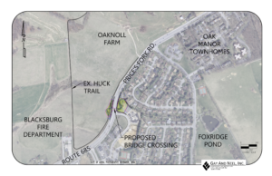 Map of planned trail crossing at Prices Fork and Sheffield Drive