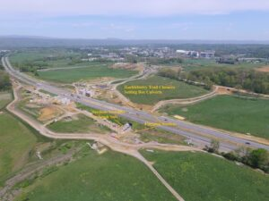 Aerial Photo of Trail with overlay of construction closures